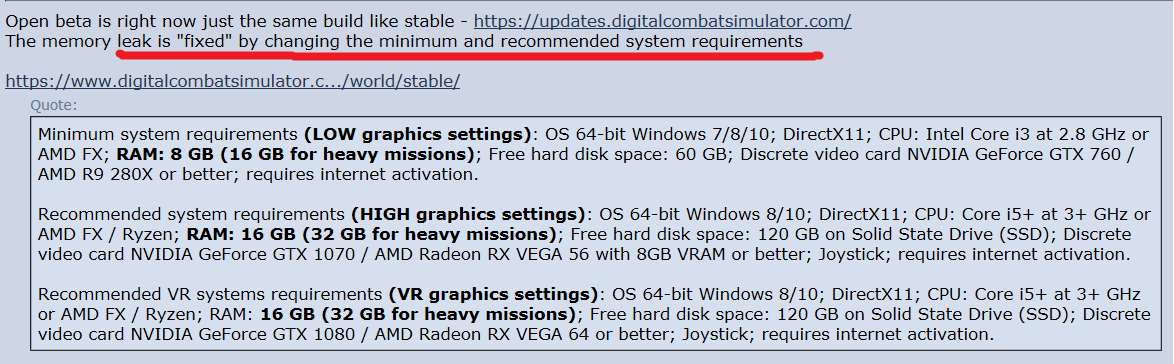 New requisites for DCS (32Gb RAM Recommended for High settings/Heavy